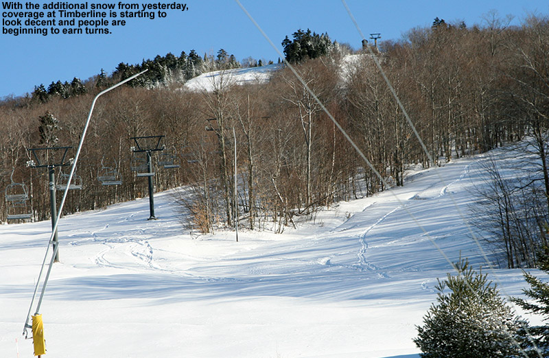 An image of Bolton Valley's Timberline area on December 29, 2011 with ski tracks from people earning turns