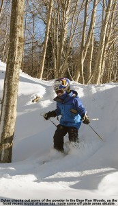 An image of Dylan skiing powder in the Bear Run Woods at Bolton Valley in Vermont on December 29, 2011