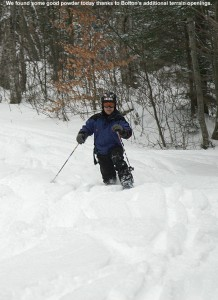 An image of Jay skiing in powder on the Lower Turnpike trail at Bolton Valley Resort in Vermont - December 30, 2011