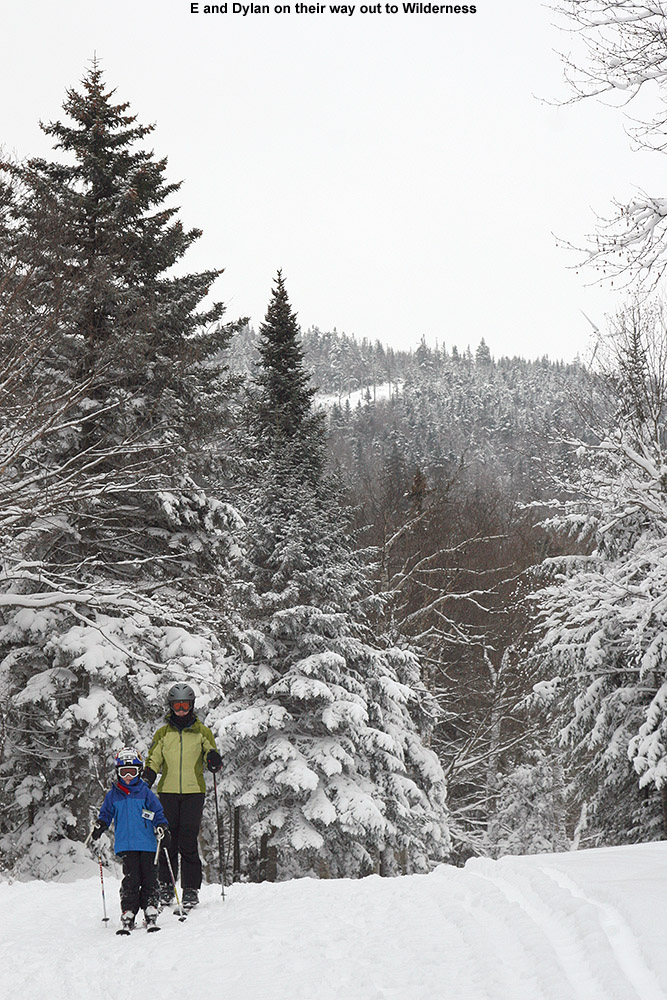 An image of Erica and Dylan heading over to the Wilderness area at Bolton Valley Ski Resort in Vermont