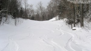 An image of ski tracks in the powder on one of the exit trails from Upper Smuggler's at Stowe Mountain Resort in Vermont