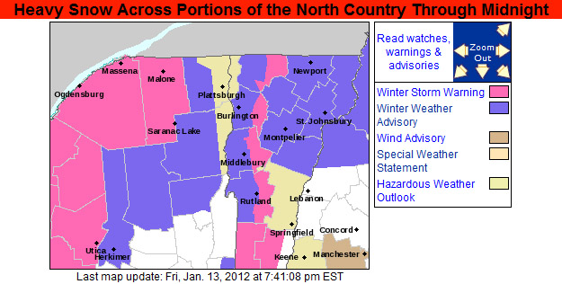 An image of the Winter Weather Warnings map put out by the National Weather Service in Burlington in the evening on January 13, 2012