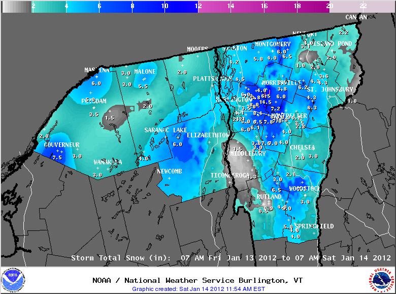 National Weather Service map of snowfall totals from January 14, 2012 for Vermont during the second half of  the two-part mid-January snowstorm