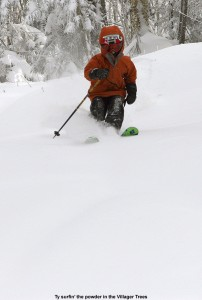 An image of Ty skiing fresh powder in the Villager Trees at Bolton Valley Resort in Vermont