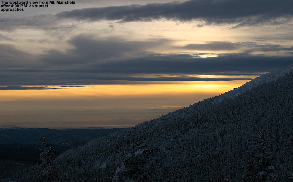 A westward view from near the top of Mount Mansfield in Vermont showing the beginnings of a January sunset