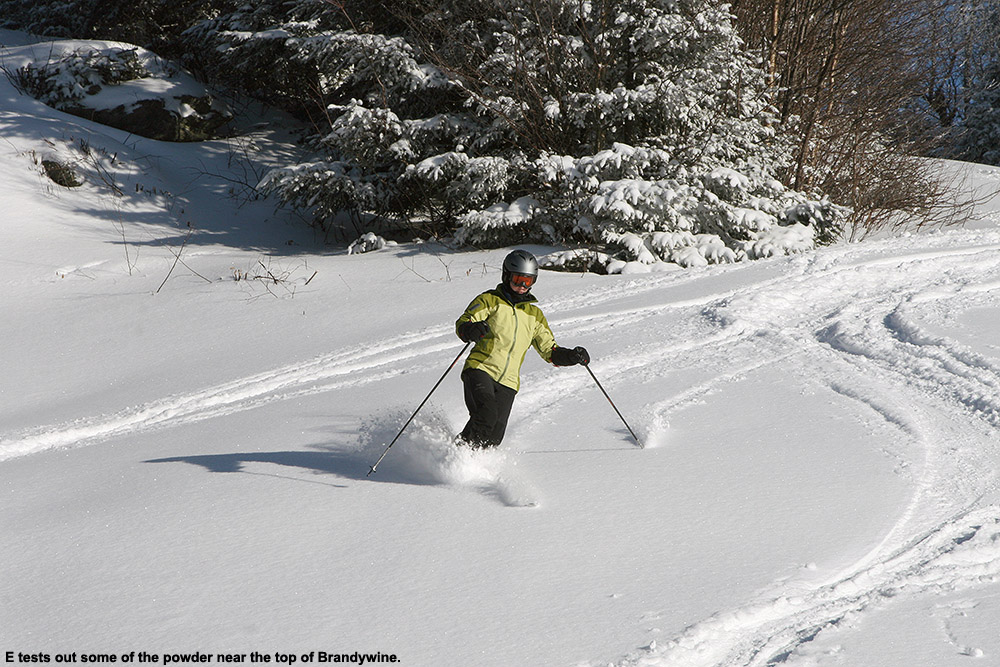 An image of Erica skiing in the powder on Upper Brandywine on a sunny day at Bolton Valley Ski Resort in Vermont