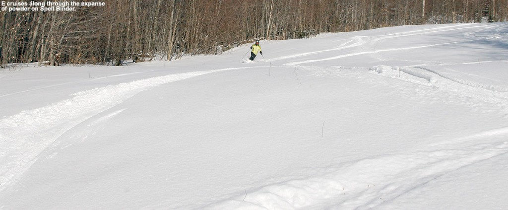 An image of Erica skiing a vast area of powder on the Spell Binder Trail at Bolton Valley Ski Resort in Vermont