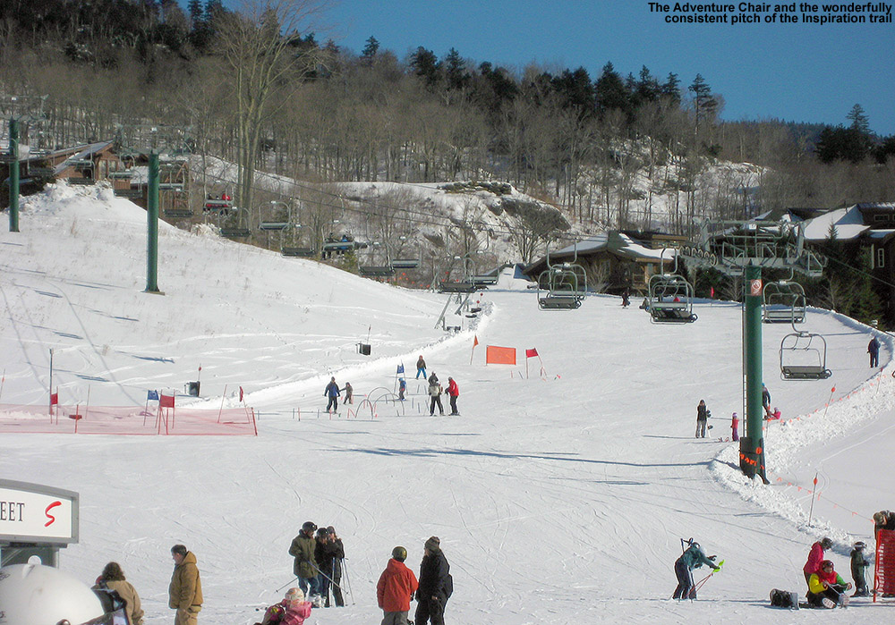 An image of the Adventure Triple Chair and the Inspiration Trail at Stowe Mountain Ski Resort in Vermont on Super Bowl Sunday 2012