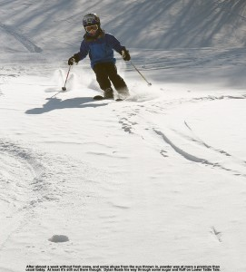 An image of Dylan skiing some powder on the Lower Tattle Tale trail at Bolton Valley Ski Resort in Vermont