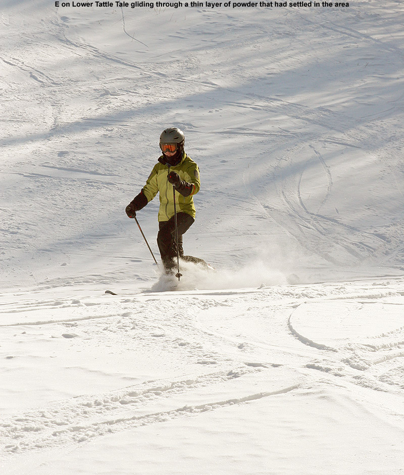 An image of Erica skiing powder on the Lower Tale trail at Bolton Valley Ski Resort in Vermont