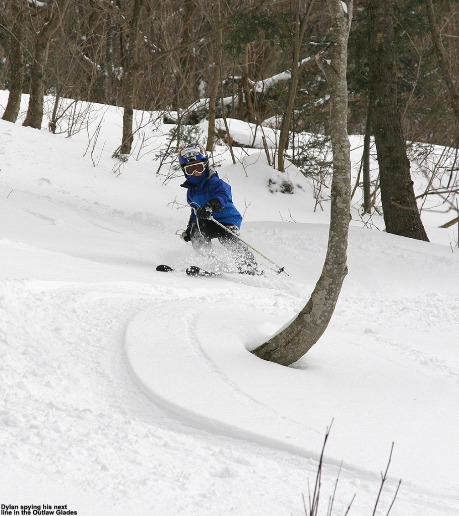 An image of Dylan skiing in the Outlaw Glades at Bolton Valley Ski Resort in Vermont