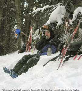 An image of Jay having soup during lunch along the Catamount Trail