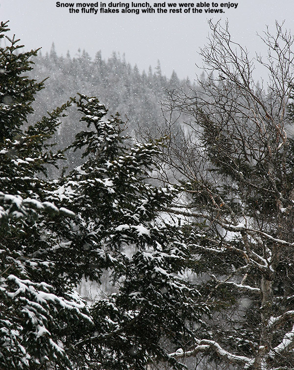 An image of snow falling among the mountains and trees as viewed from the Catamount Trail beyond Bolton Valley Ski Resort in Vermont