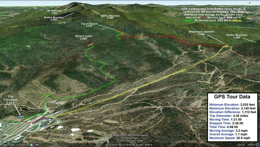 A Google Earth image containing the GPS track from our ski tour on Bolton Valley's Nordic & Backcountry terrain - 19FEB2012
