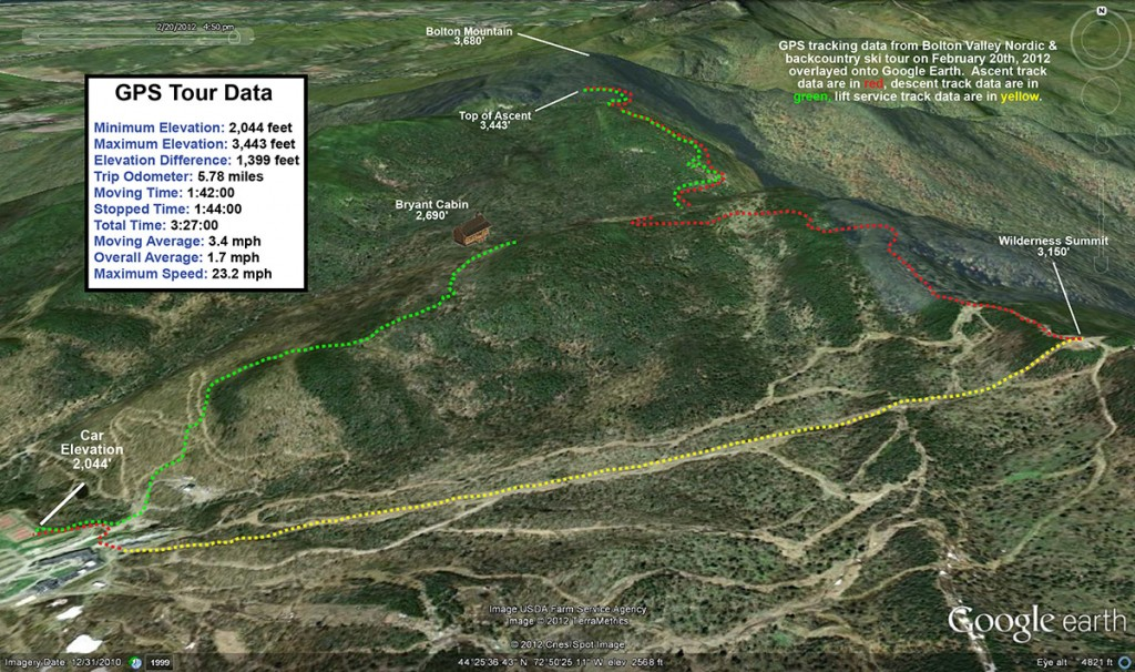 A Google Earth GPS map tracing of my tour on the Bolton Valley Nordic/backcountry network of ski trails and the Catamount Ski Trail in Vermont on February 20, 2012