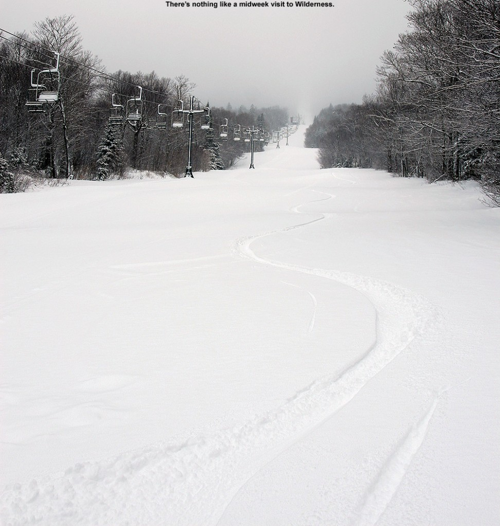 An image of ski tracks in fresh powder on the Wilderness Lift Line at Bolton Valley Ski Resort in Vermont
