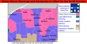 An image of the Winter Weather Advisories Map for February 24-25, 2012 from the National Weather Service Office In Burlington, Vermont