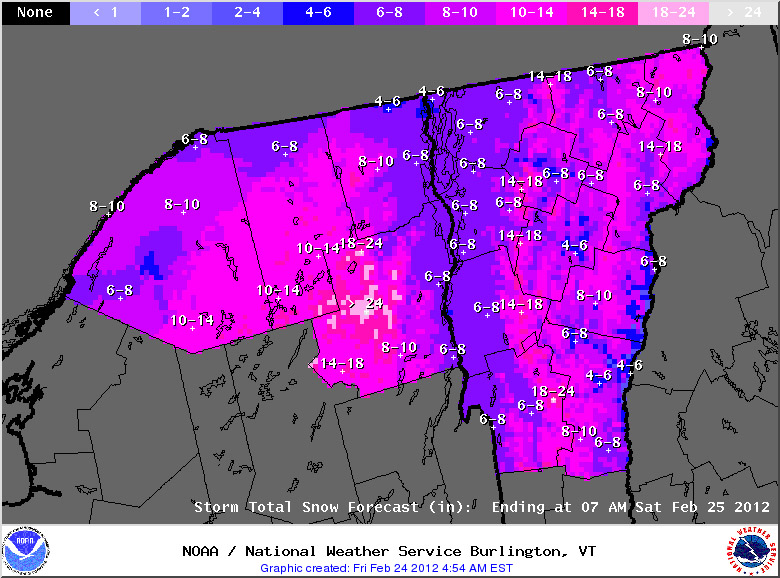 The Storm Total Snowfall Forecast map for the morning of February 24, 2012 for the upcoming winter storm - 1 to 2 additional feet of snow are expected in the mountains.