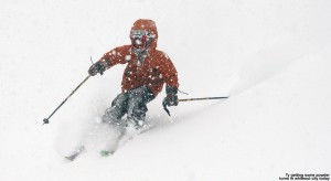 An image of Ty skiing in heavy snowfall during a two-foot snowstorm at Bolton Valley Ski Resort in Vermont