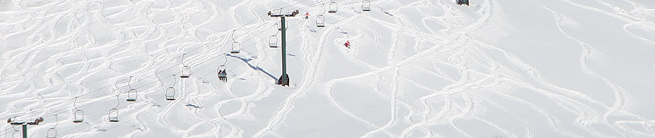 An image of ski tracks obove the Meadows trail at Stowe Mountain Resort in Vermont on a powder day