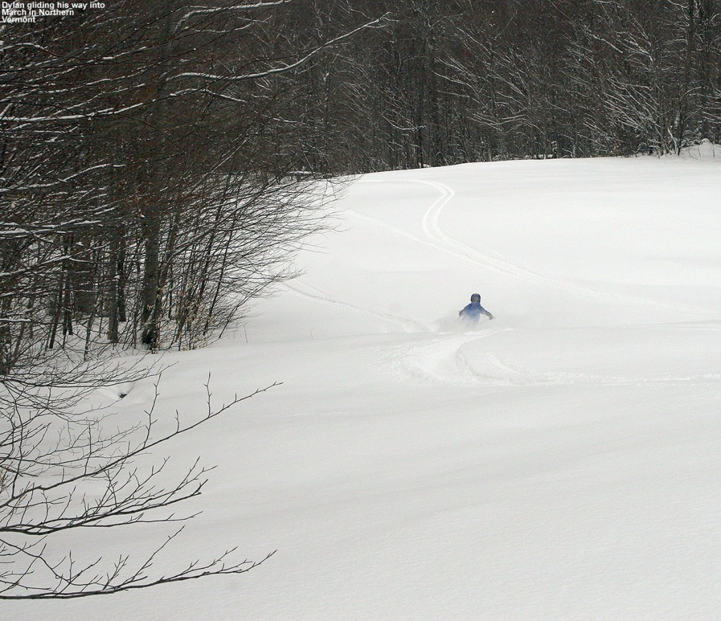An image of Dylan skiing an expanse of powder on the Spell Binder Trail at Bolton Valley Ski Resort in Vermont