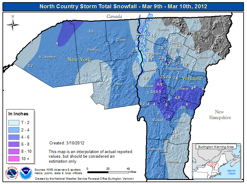 An image of the snowfall map from the National Weather Service in Burlington for March 10, 2012