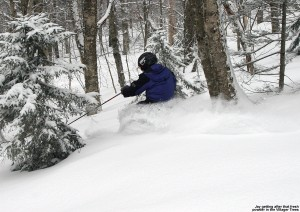 An image of Jay skiing the fresh powder in the Villager Trees at Bolton Valley Ski Resort in Vermont