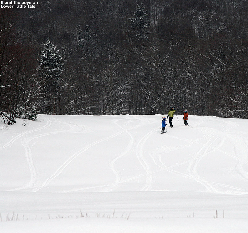 An image of E, Ty, and Dylan on Lower Tattle Tale with tracks in the powder at Bolton Valley Ski resort in Vermont