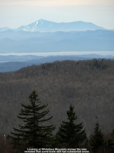 An image of Whiteface Mountain in the Adirondacks from Bolton Valley Ski Resort in Vermont