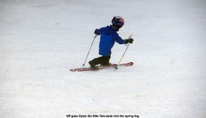 An image of Dylan in a Telemark turn on the Sunrise trail area at Stowe Mountain Resort in Vermont