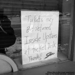 An image of a sign informing people about ticket refunds at Stowe Mountain resort in Vermont