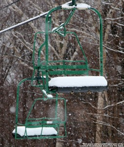 An image of snow and snowfall on the Lookout Double Chair at Stowe Mountain Ski Resort in Vermont
