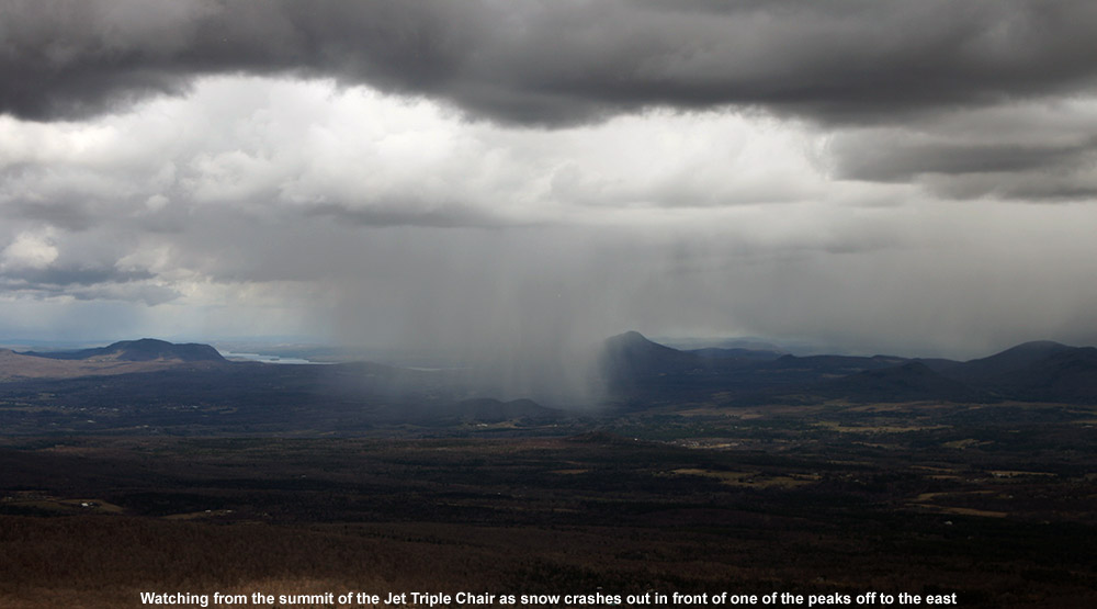 An image of snow falling in a localized squall off to the east of Jay Peak Ski Resort in Vermont