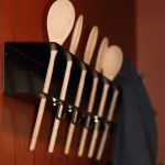 An image of coat racks made from spoons at Mountain Dick's Pizza in the Hotel Jay at Jay Peak Ski Resort in Vermont