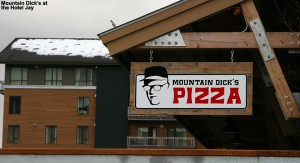 An image of the sign for Mountain Dick's Pizza in the Hotel Jay at Jay Peak Ski Resort in Vermont