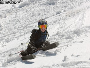 An image of Dylan pausing for a break in the snow during our descent at Stowe Mountain Resort in Vermont