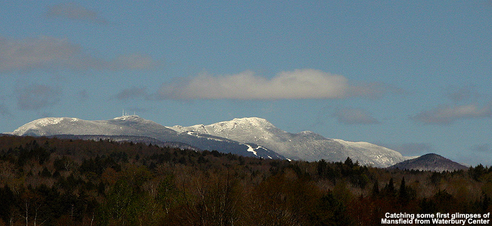An image of a very white Mt. Mansfield taken from Waterbury Center, Vermont after a late April snowstorm