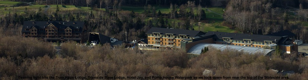 An view of the Tram Haus Lodge, Tramside Base Lodge, Hotel Jay, and Pump House Waterpark viewed from the top of the Stateside area at Jay Peak Ski Resort in Vermont