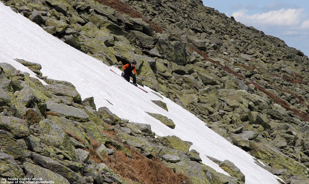 An image of Jay skiing one of the snowfields on the east side of Mt. Washington on Memorial Day weekend 2012