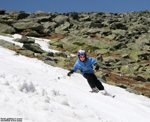 An image of Dylan skiing the snow on the Mount Washington snowfields on Memorial Day Weekend 2012