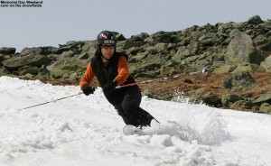 An image of Jay Telemark skiing on the Mount Washington snowfields on Memorial Day Weekend 2012