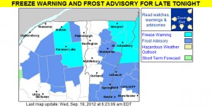 A map from the National Weather Service in Burlington showing the frost advisories and freeze warnings for Vermont and the surrounding areas on September 19th, 2012
