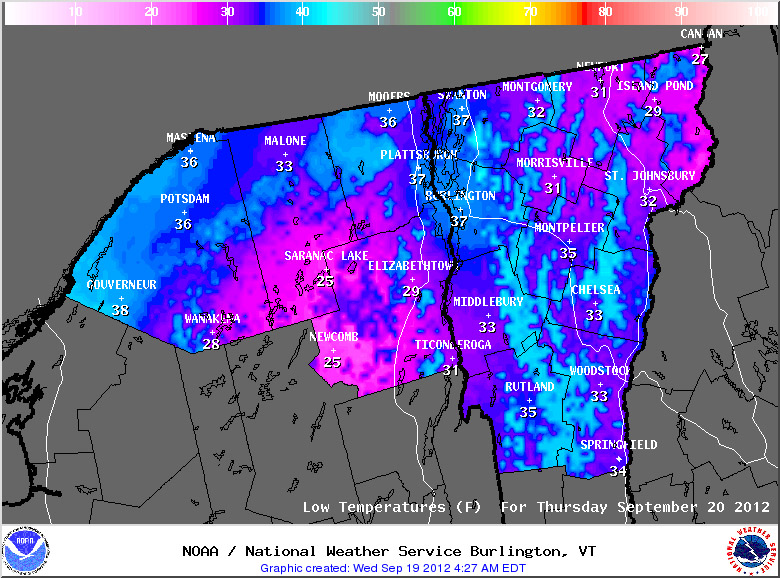 A map of predicted low temperatures from the National Weather Service in Burlington from the morning of September 20th, 2012