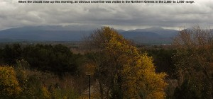 An image of the snow line on Mt. Mansfield and some of the Northern Green mountains in Vermont in early November