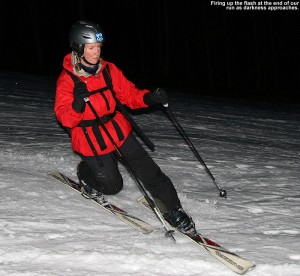 An image of Erica skiing the North Slope trail at Stowe Mountain Resort in Vermont near dusk