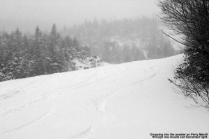 An image of ski tracks in powder on the Perrill Merrill trail at Stowe Mountain Resort in Vermont