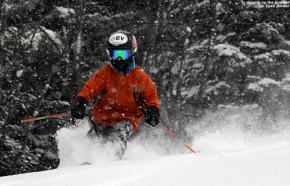An image of Ty skiing in about a foot of Champlain powder on the Spell Binder trail at Bolton Valley Ski Resort in Vermont