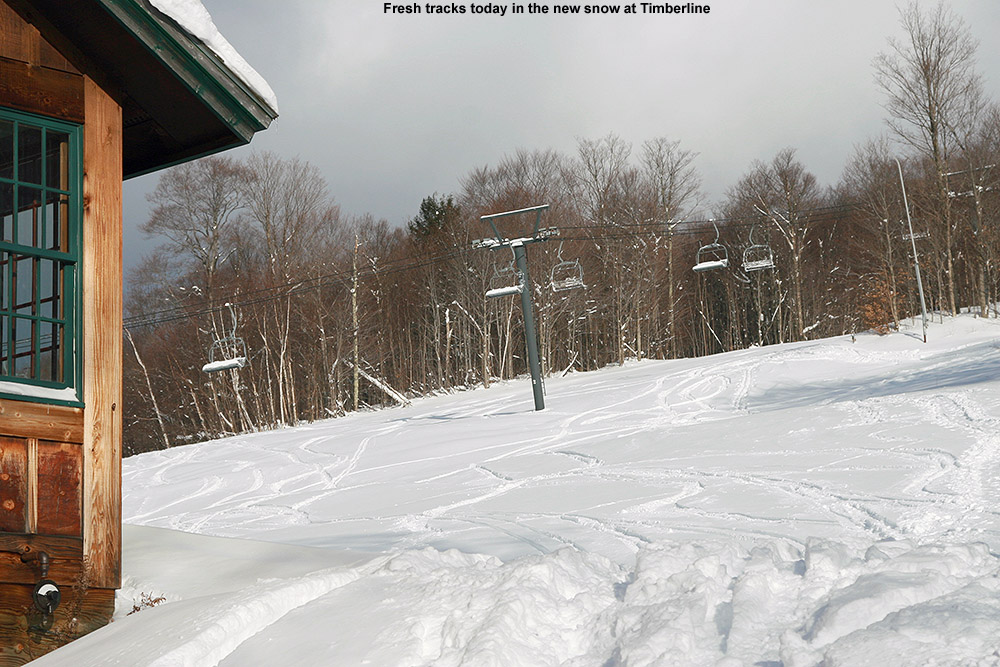 An image of ski tracks near the base of the Timberline area at Bolton Valley Ski Resort in Vermont