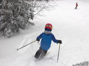 An image of Dylan skiing some powder at the Bottom of the Upper Smugglers trail at Stowe Mountain Resort in Vermont
