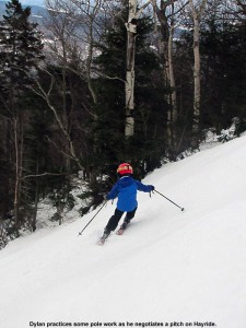 An image of Dylan skiing the Hayride trail at Stowe Mountain Resort in Vermont